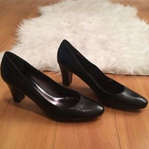Etienne Aigner Black Leather Block Heels